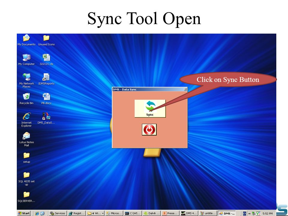 Sync Tool Open Click on Sync Button