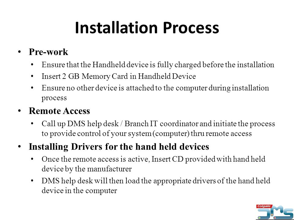 Installation Process Pre-work Remote Access