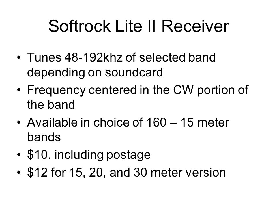 Softrock Lite II Receiver