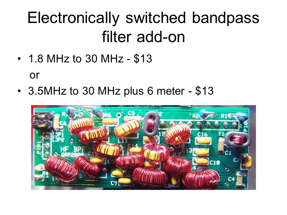 Electronically switched bandpass filter add-on