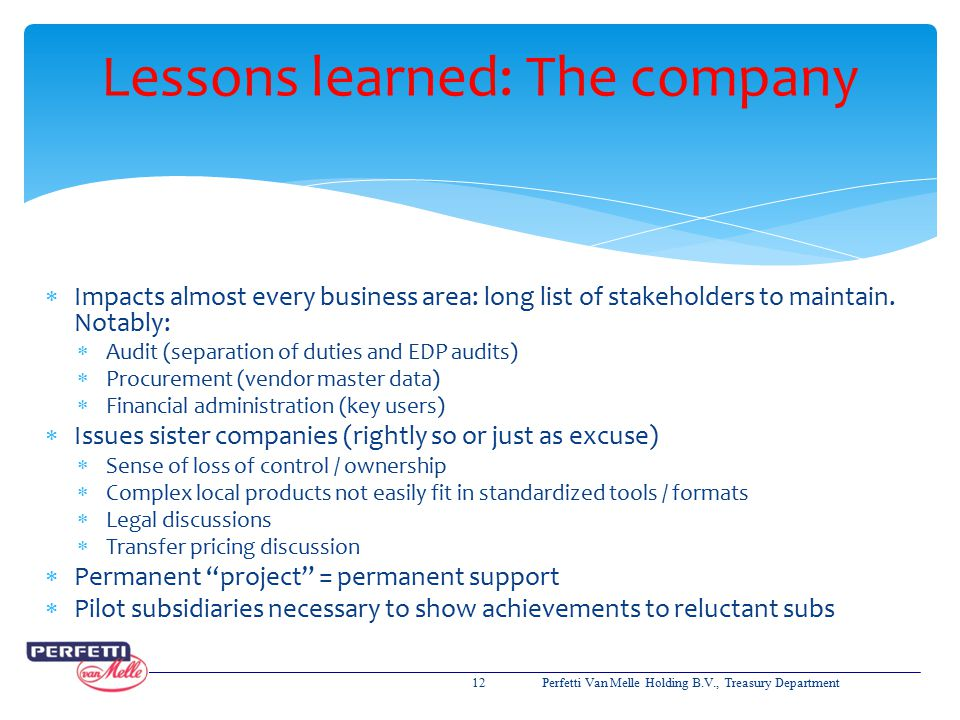 Lessons learned: The company