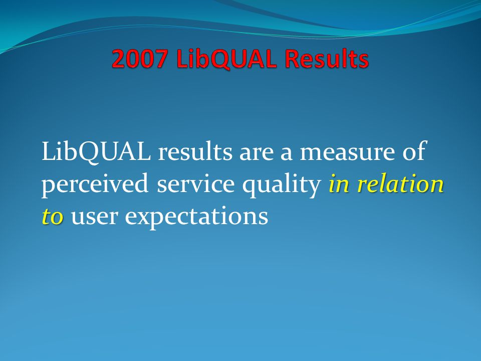 LibQUAL+ at Queen s* Nov. 12, 200307/16/96. 2007 LibQUAL Results.