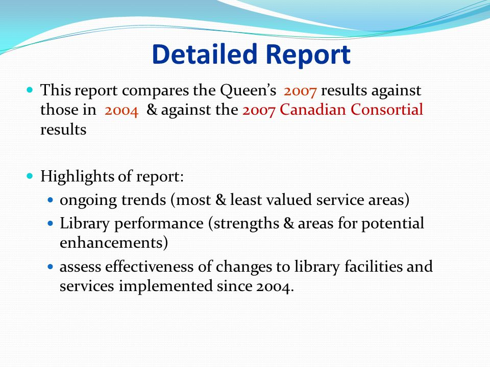LibQUAL+ at Queen s* Nov. 12, 200307/16/96. Detailed Report.