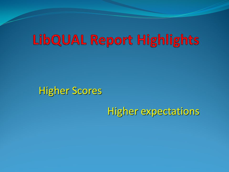 LibQUAL Report Highlights
