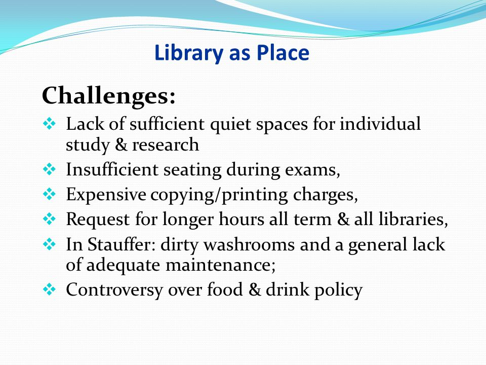 Library as Place Challenges: