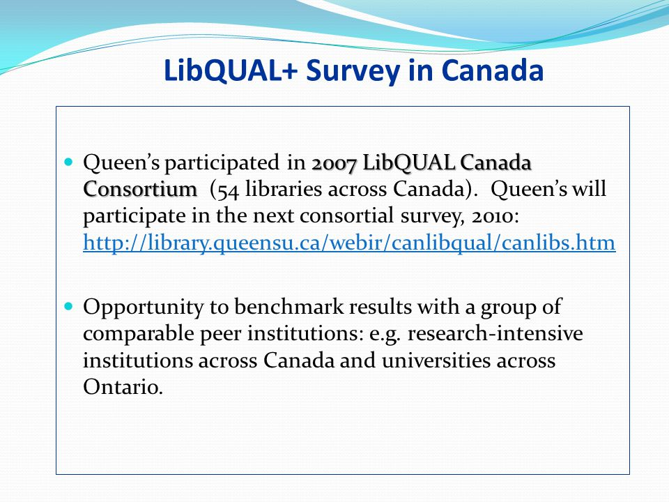 LibQUAL+ Survey in Canada