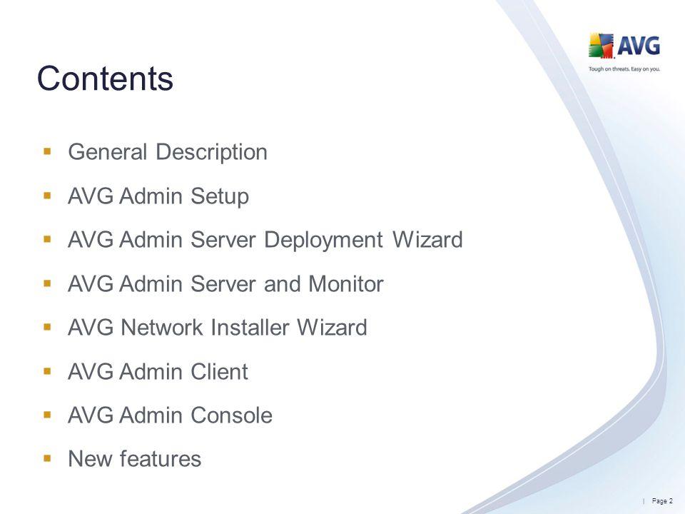 Contents General Description AVG Admin Setup