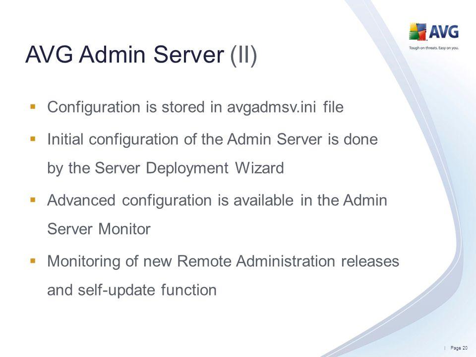 AVG Admin Server (II) Configuration is stored in avgadmsv.ini file
