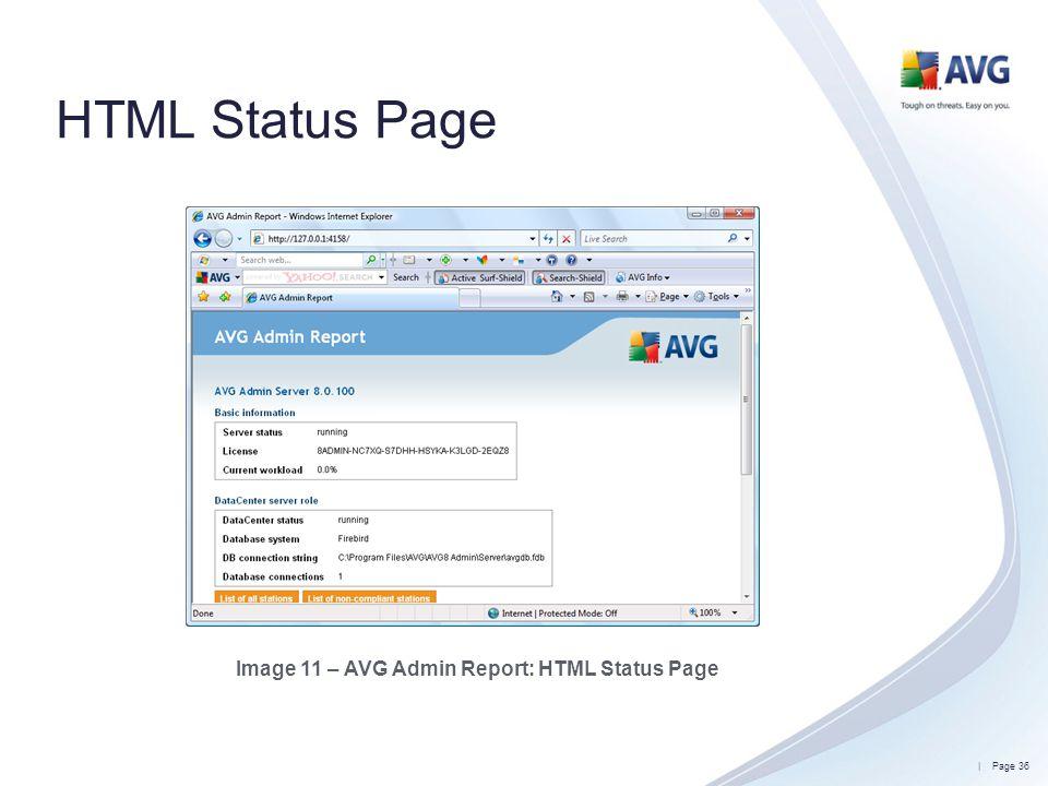 Image 11 – AVG Admin Report: HTML Status Page
