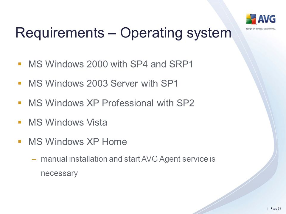Requirements – Operating system
