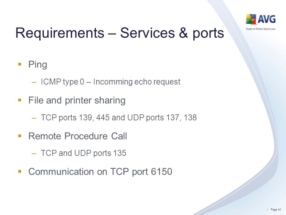 Requirements – Services & ports