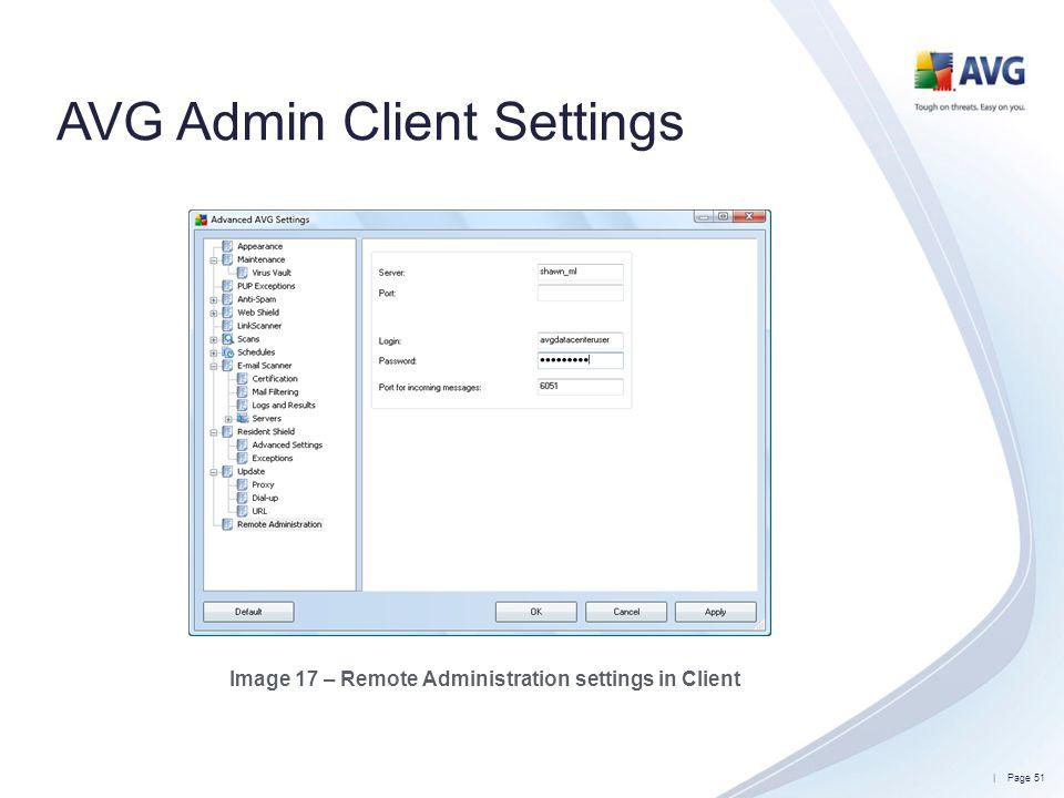 AVG Admin Client Settings