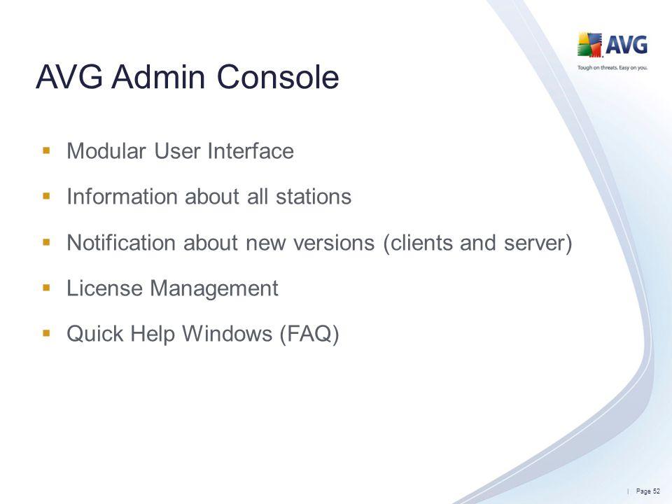 AVG Admin Console Modular User Interface