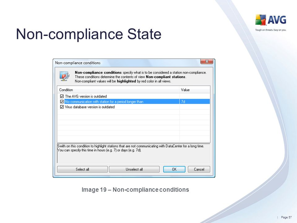 Image 19 – Non-compliance conditions