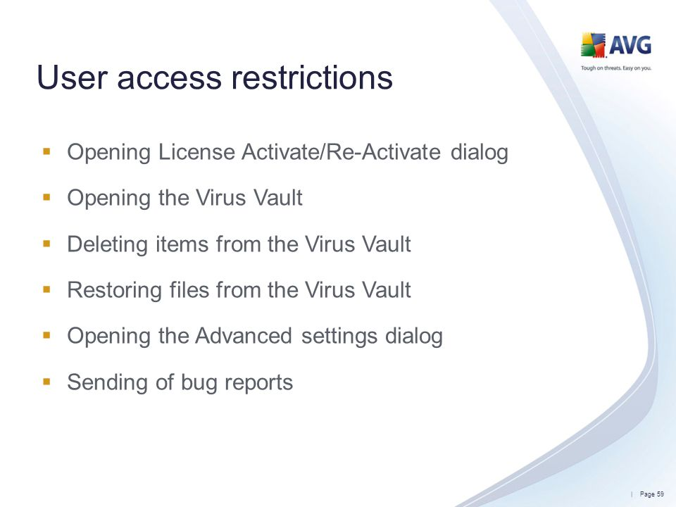 User access restrictions