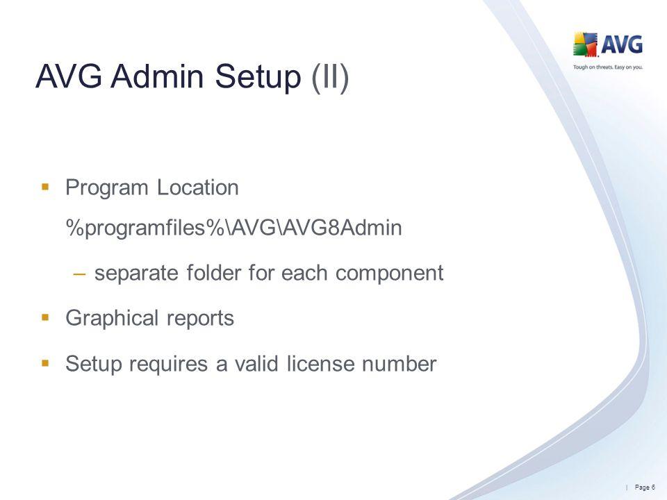 AVG Admin Setup (II) Program Location %programfiles%\AVG\AVG8Admin