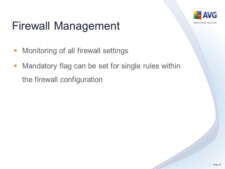 Firewall Management Monitoring of all firewall settings
