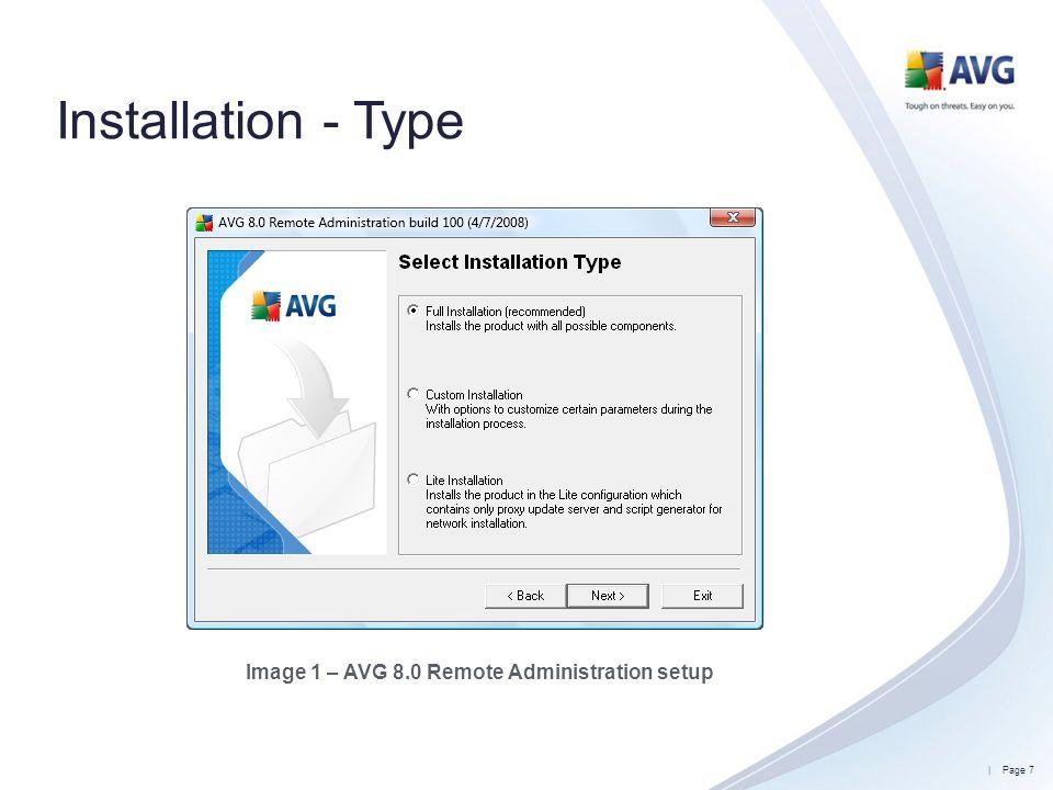 Image 1 – AVG 8.0 Remote Administration setup
