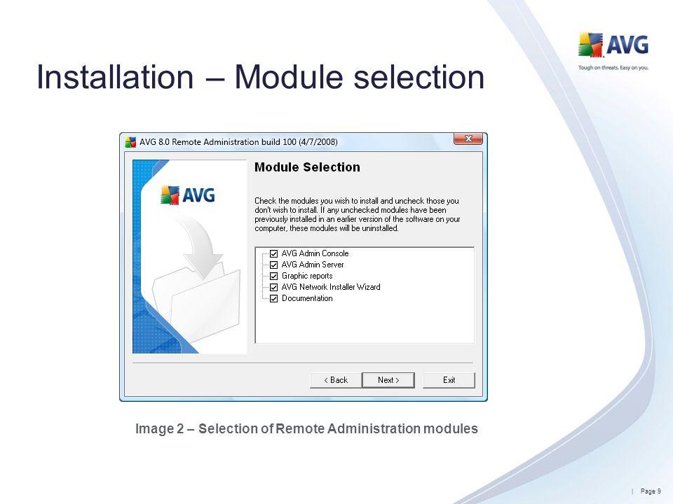 Installation – Module selection