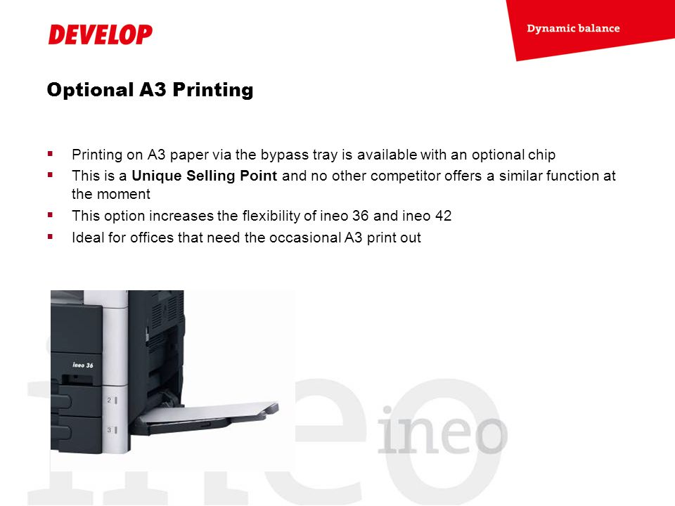 Optional A3 Printing Printing on A3 paper via the bypass tray is available with an optional chip.
