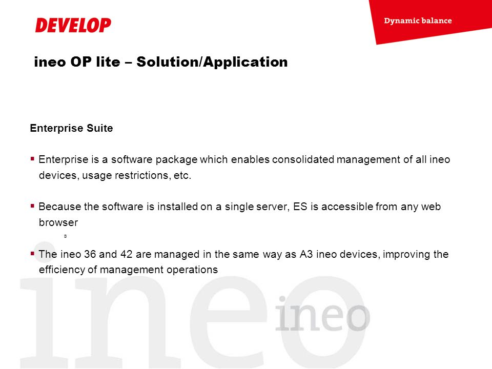 ineo OP lite – Solution/Application