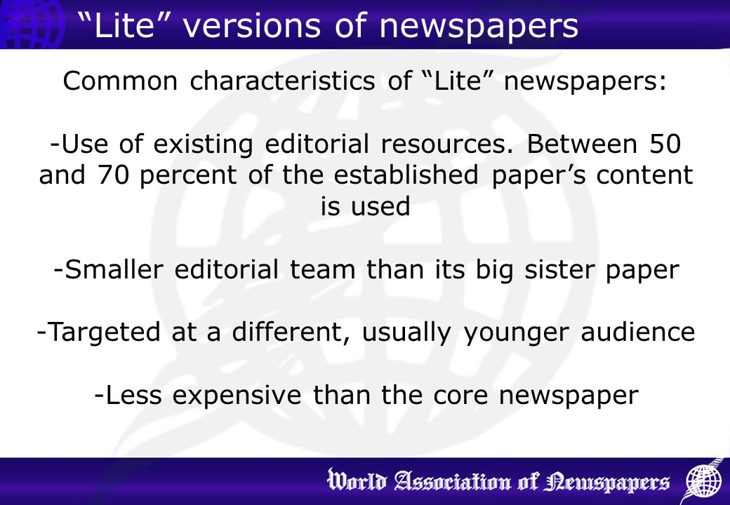 Lite versions of newspapers