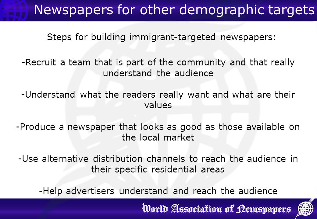 Newspapers for other demographic targets
