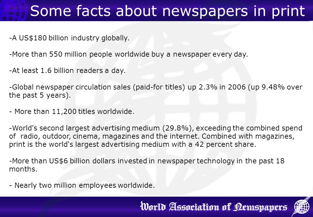 Some facts about newspapers in print