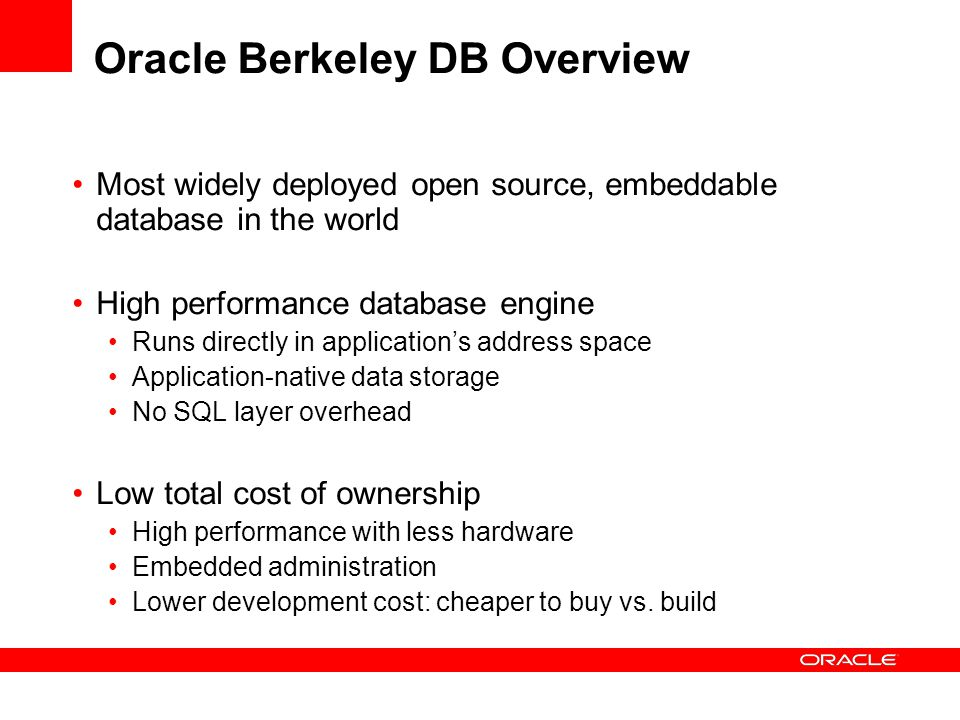 Oracle Berkeley DB Overview