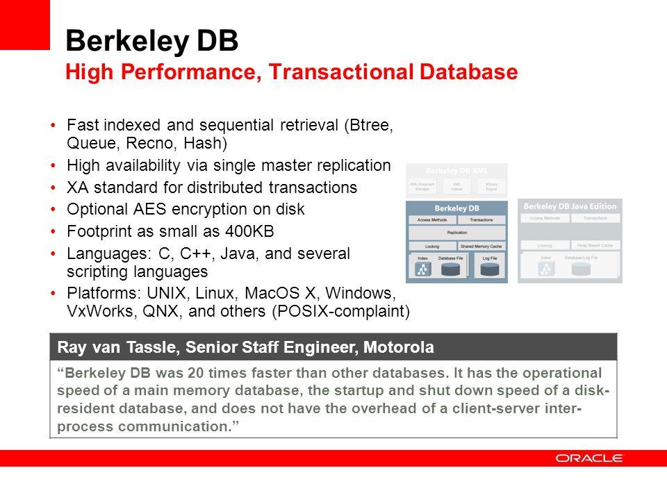 Berkeley DB High Performance, Transactional Database