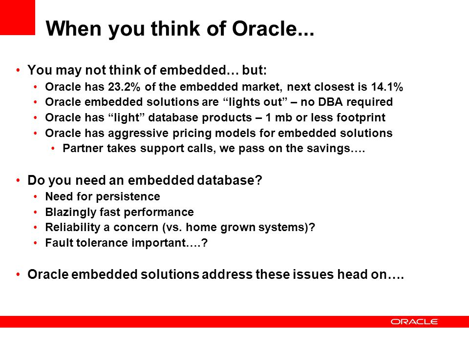 When you think of Oracle...