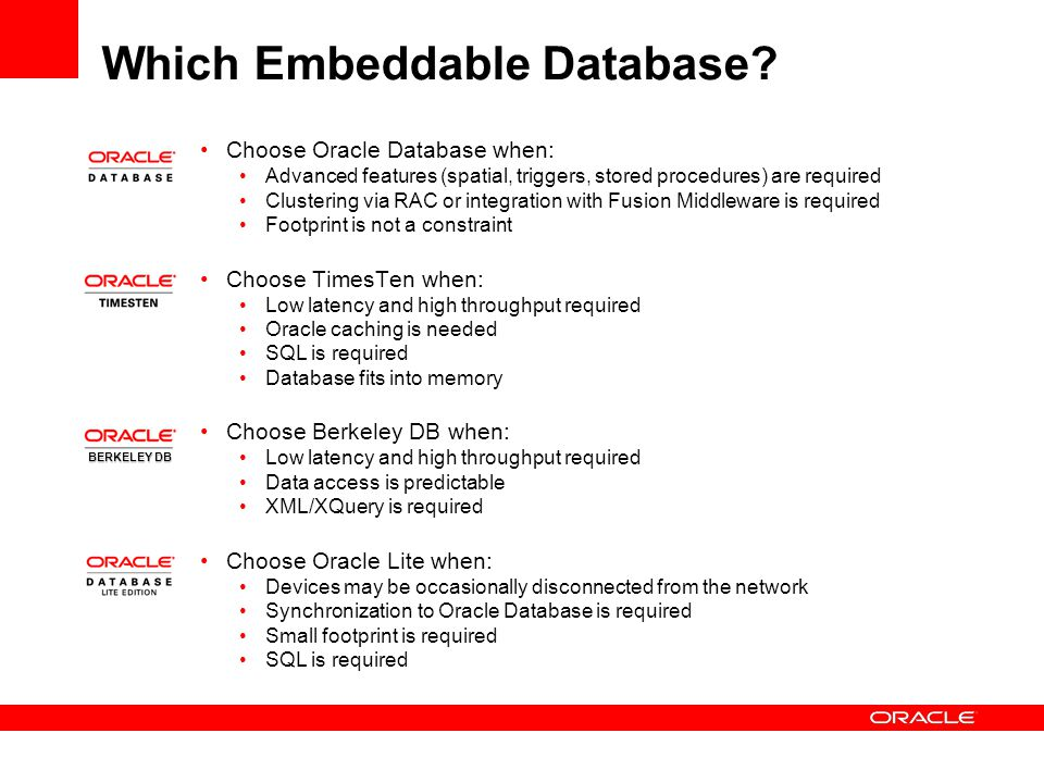 Which Embeddable Database