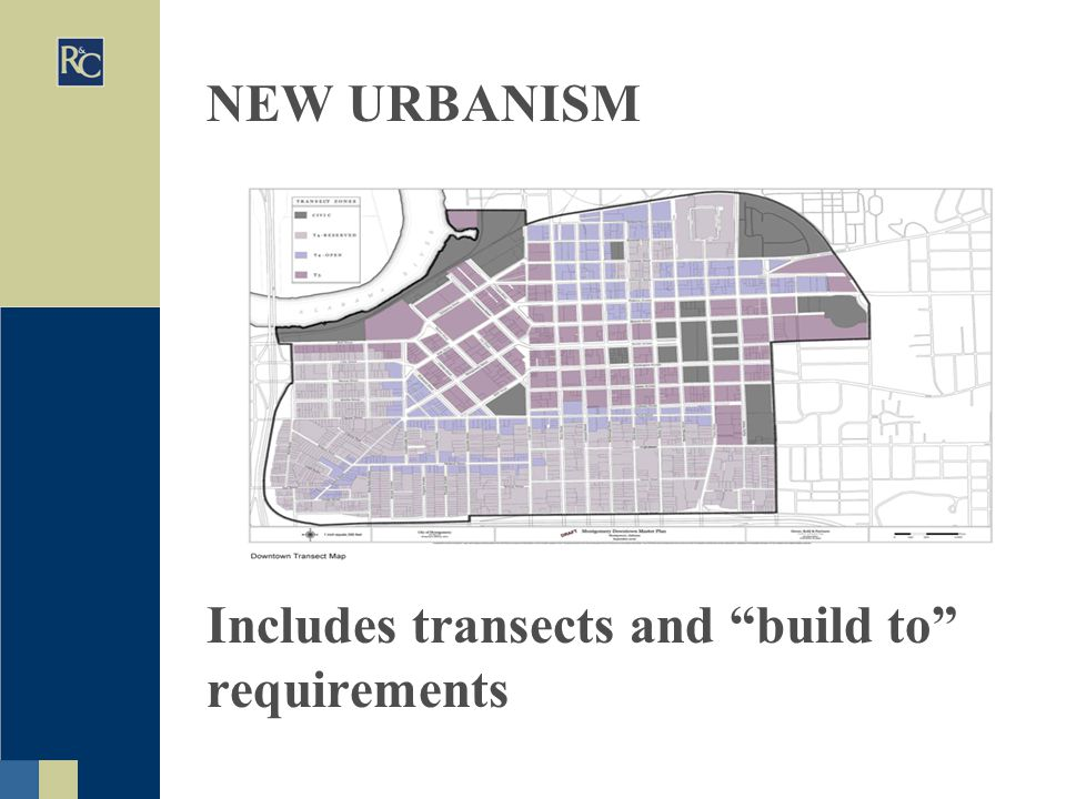 NEW URBANISM Includes transects and build to requirements