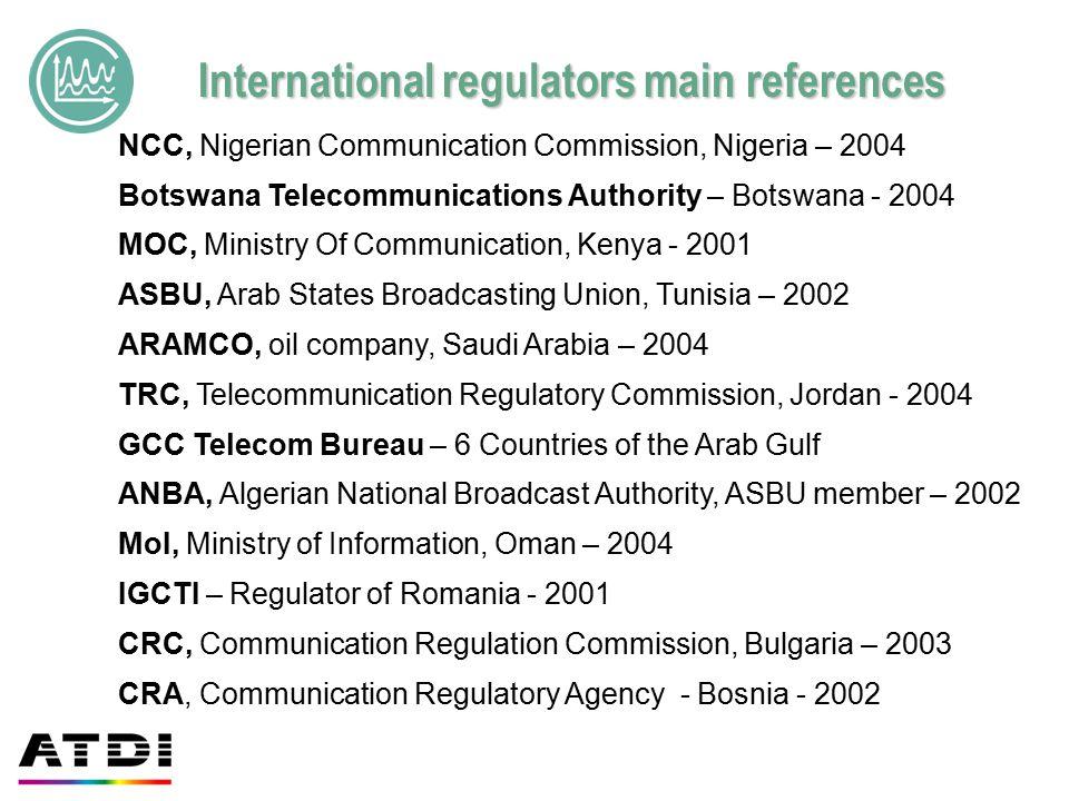 International regulators main references