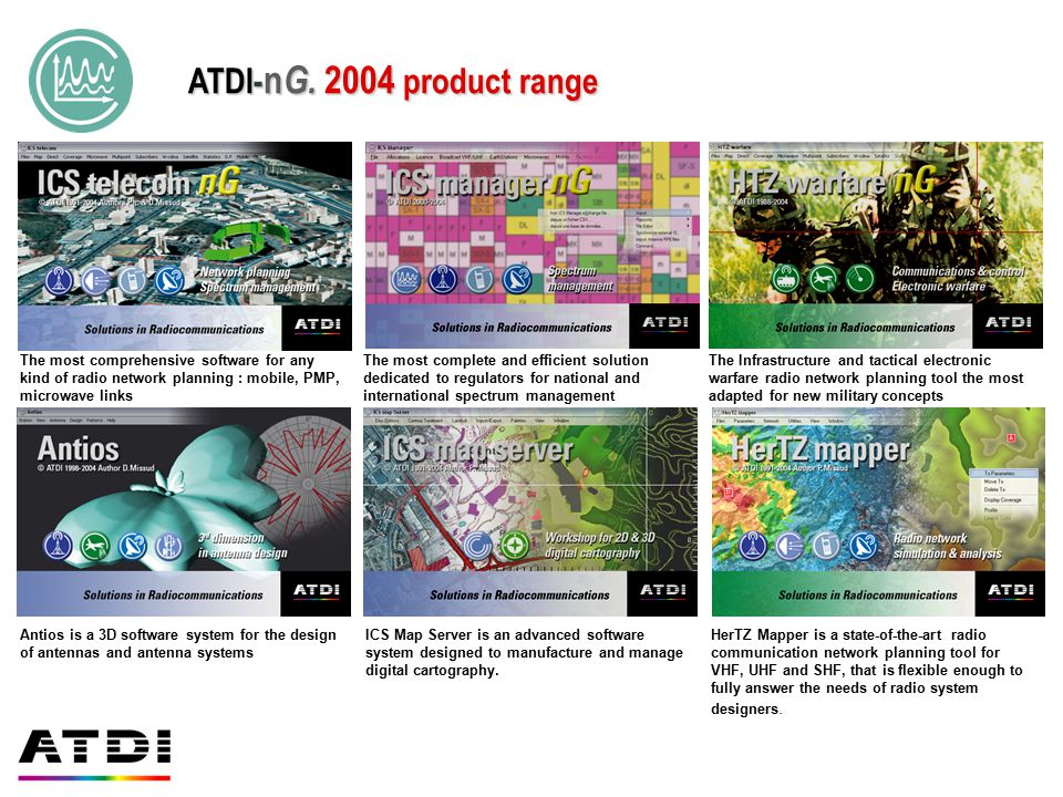 ATDI-nG. 2004 product range The most comprehensive software for any kind of radio network planning : mobile, PMP, microwave links.