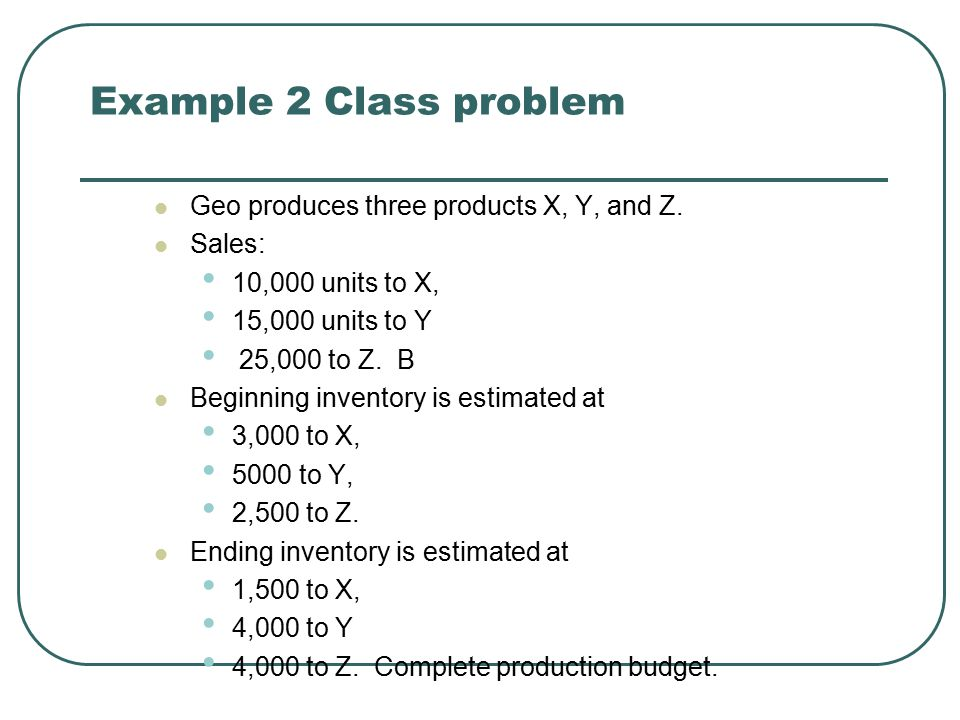 Example 2 Class problem Geo produces three products X, Y, and Z.