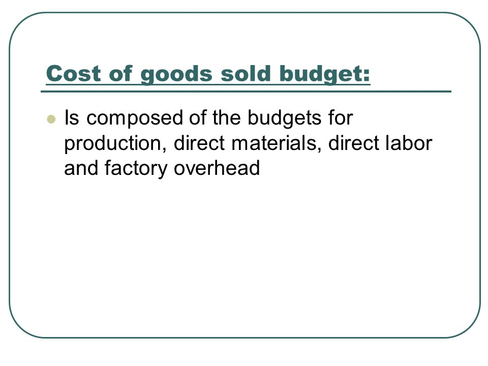 Cost of goods sold budget: