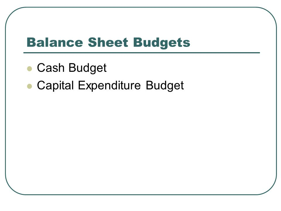 Balance Sheet Budgets Cash Budget Capital Expenditure Budget