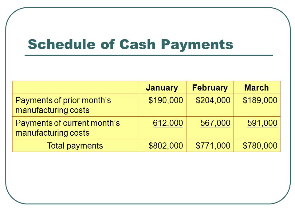 Schedule of Cash Payments