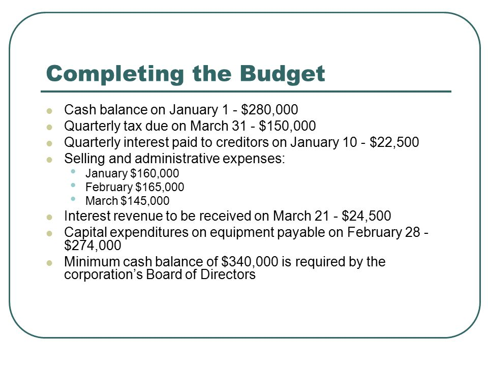 Completing the Budget Cash balance on January 1 - $280,000