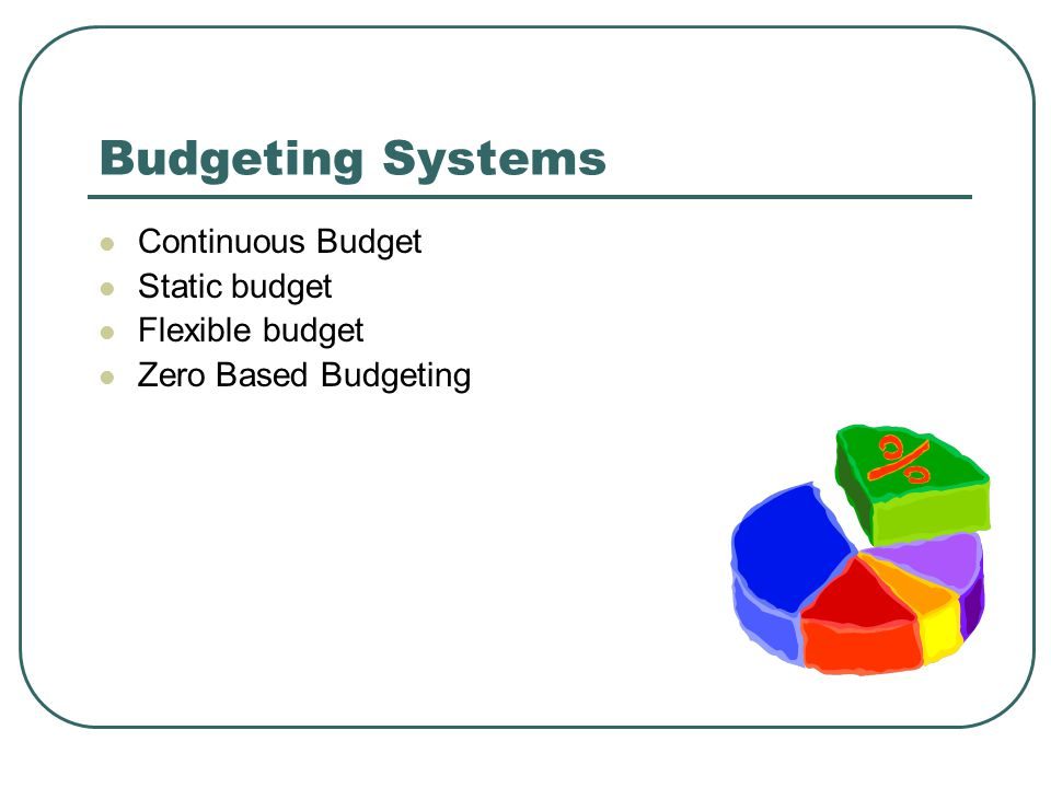 Budgeting Systems Continuous Budget Static budget Flexible budget