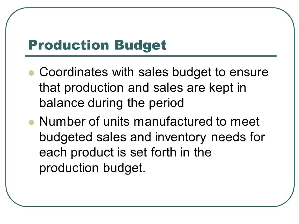 Production Budget Coordinates with sales budget to ensure that production and sales are kept in balance during the period.