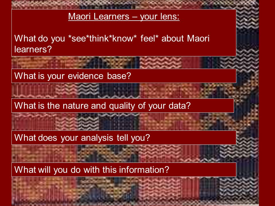 Maori Learners – your lens: