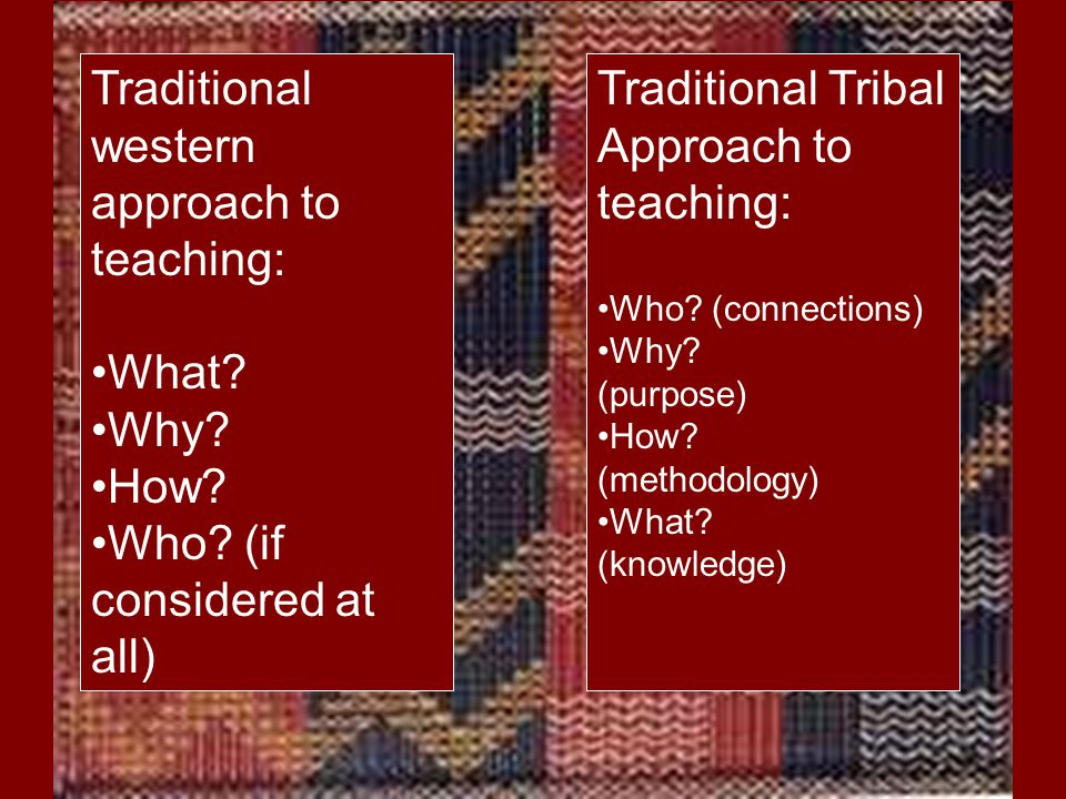 Traditional western approach to teaching: