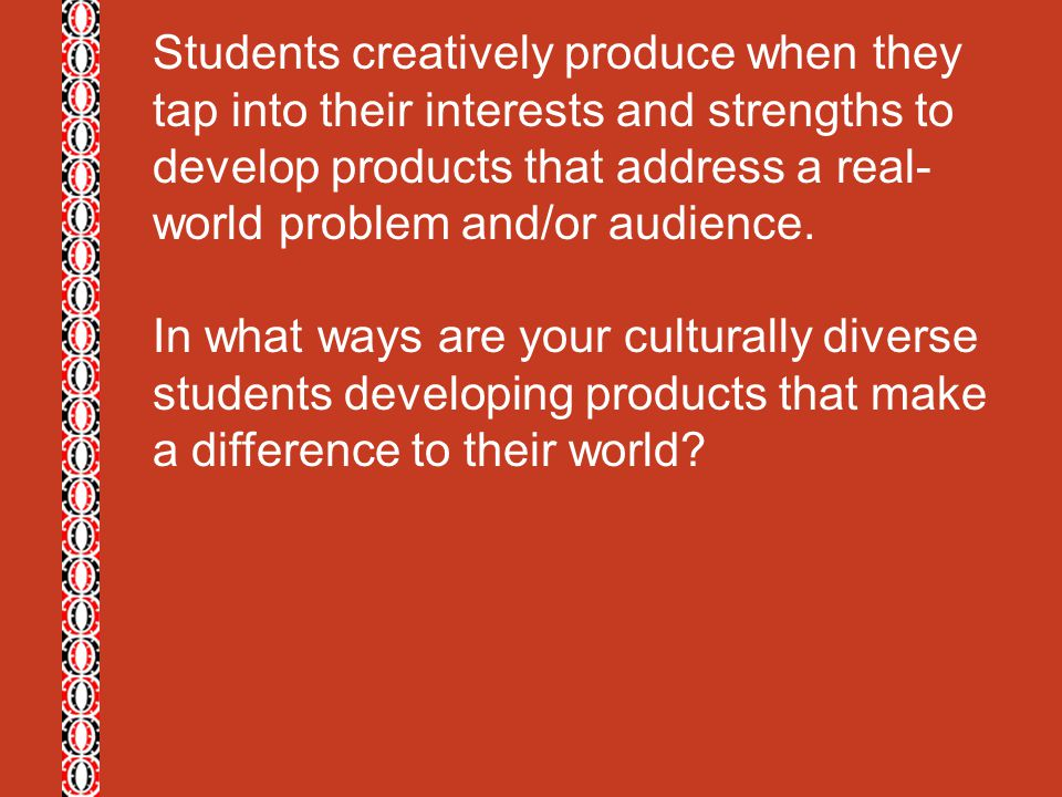 Students creatively produce when they tap into their interests and strengths to develop products that address a real-world problem and/or audience.