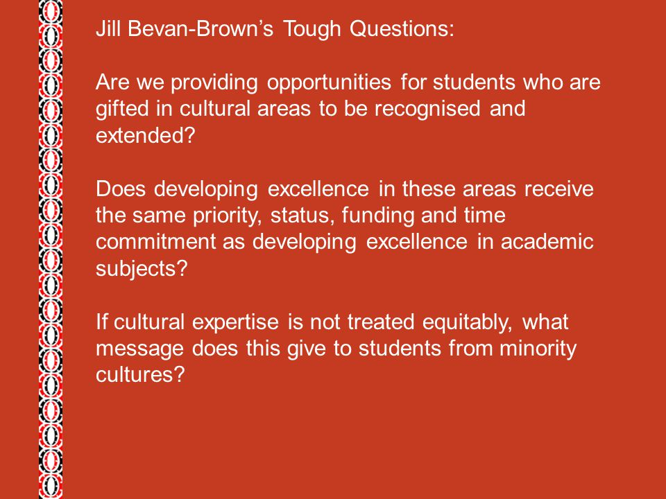 Jill Bevan-Brown's Tough Questions: