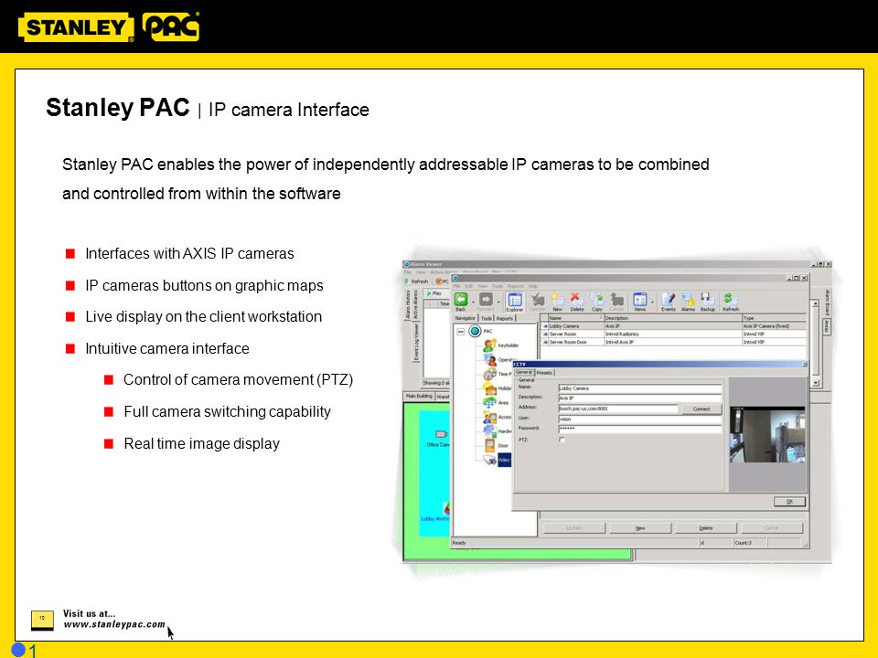 Stanley PAC | IP camera Interface