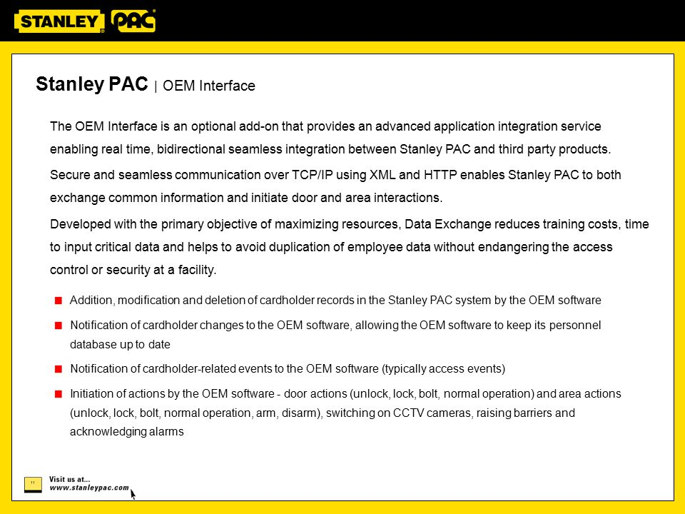 Stanley PAC | OEM Interface