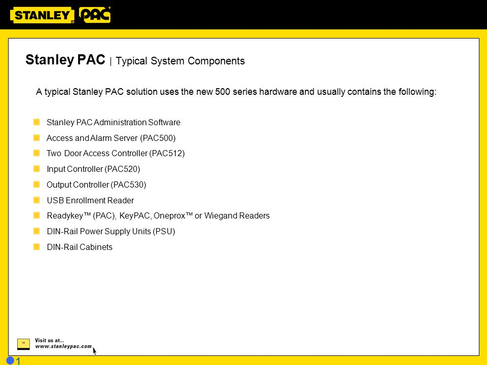 Stanley PAC | Typical System Components