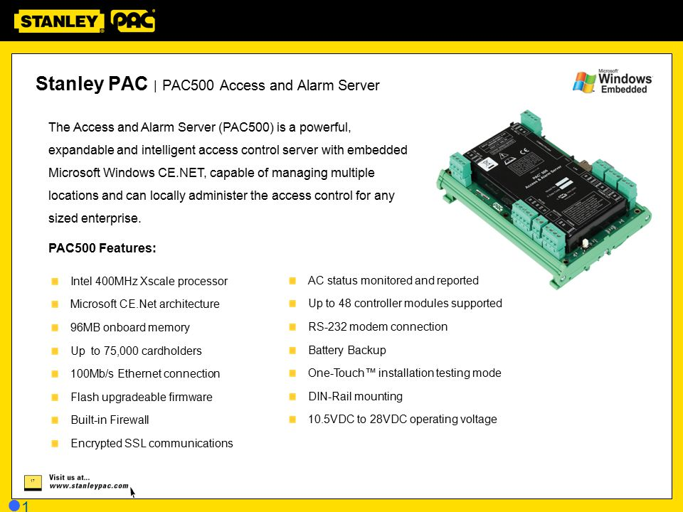 Stanley PAC | PAC500 Access and Alarm Server